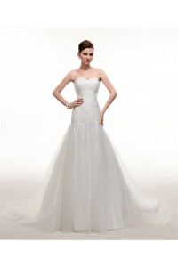 simple trumpet sweetheart tulle ruched wedding dress