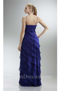 Slim Royal Blue Chiffon Ruffle Tiered Mother Evening Dress With Jacket Straps