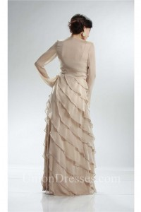 Spaghetti Strap Champagne Chiffon Ruffle Tiered Evening Dress With Jacket