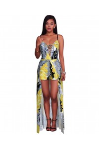 Spaghetti Strap Printed High Low Dress Women Rompers Jumpsuit For Prom