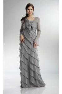 Spaghetti Strap Silver Chiffon Ruffle Tiered Mother Evening Dress With Jacket