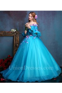 ffb99b28e0c Tale Ball Gown Off The Shoulder Flare Sleeve Blue Organza Prom Dress With  Flowers lightbox moreview · lightbox moreview