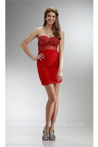 f1642f1fabc Tight Sweetheart Mini Red Chiffon Ruched Prom Dress With Beading