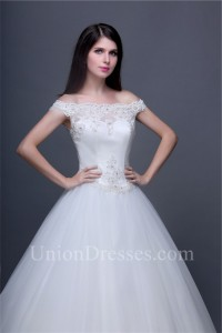 traditional ball gown off the shoulder tulle lace corset wedding dress without train