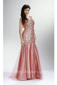 2c16ce34ed Trumpet Scoop Neck Open Back Dusty Pink Tulle Lace Beaded Prom Dress