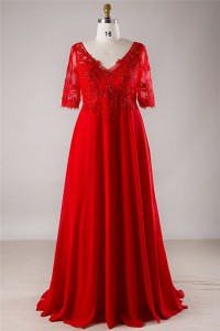 v neck empire waist corset red chiffon lace beaded plus