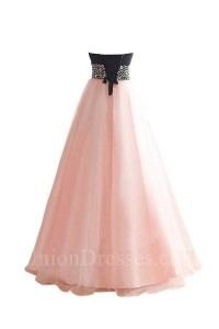 wondeful a line strapless black and pink tulle beaded prom