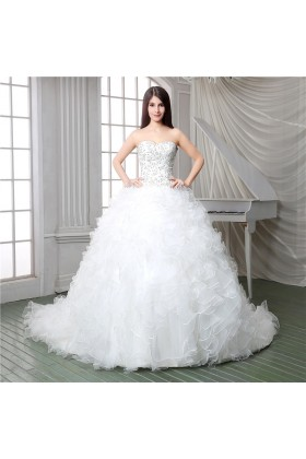 Corset wedding dress with long train