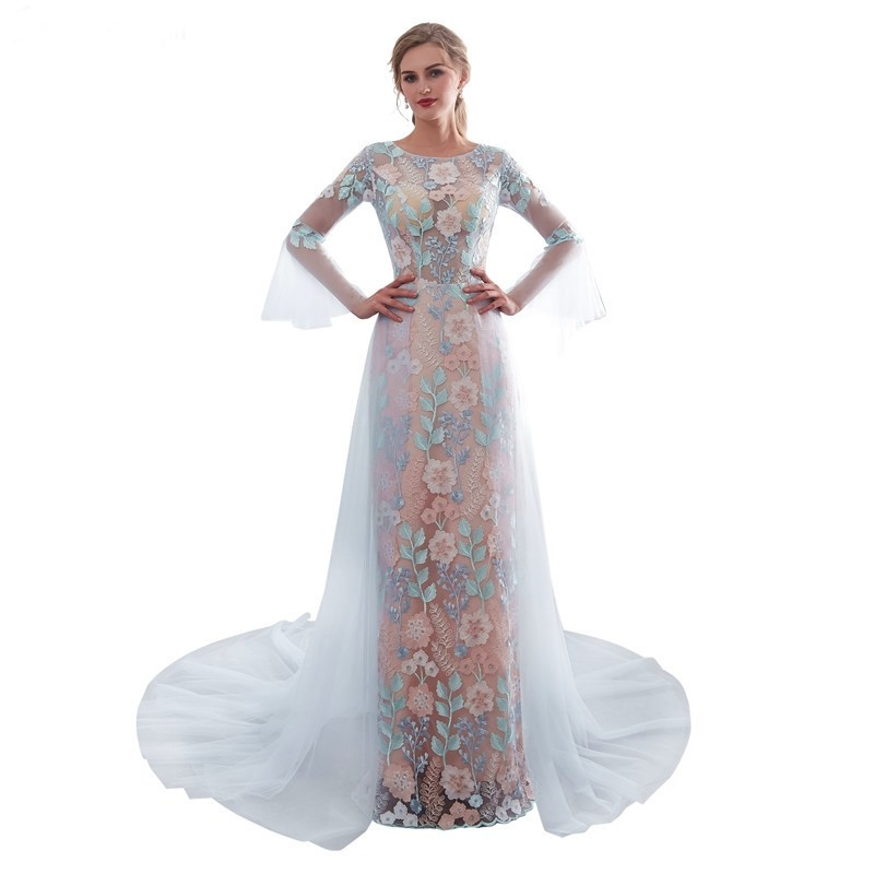 33cc5c93292 Stunning Sheath Scoop Long Sleeve Champagne Lace Dusty Blue Tulle Prom  Evening Dress lightbox moreview