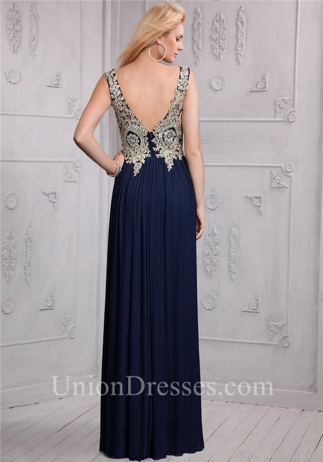 A Line Bateau Long Navy Blue Chiffon Gold Lace Applique