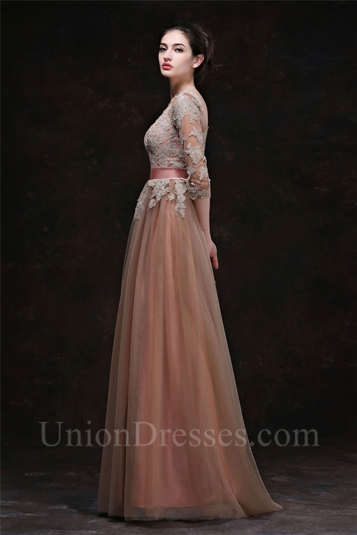 A Line Bateau Neckline Long Brown Tulle Lace Evening Prom