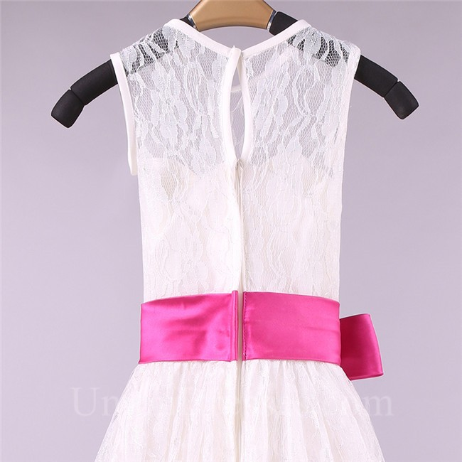 4a5e6cfcc9b A Line High Neck Lace Flower Girl Dress With Hot Pink Sash lightbox  moreview · lightbox moreview · lightbox moreview · lightbox moreview