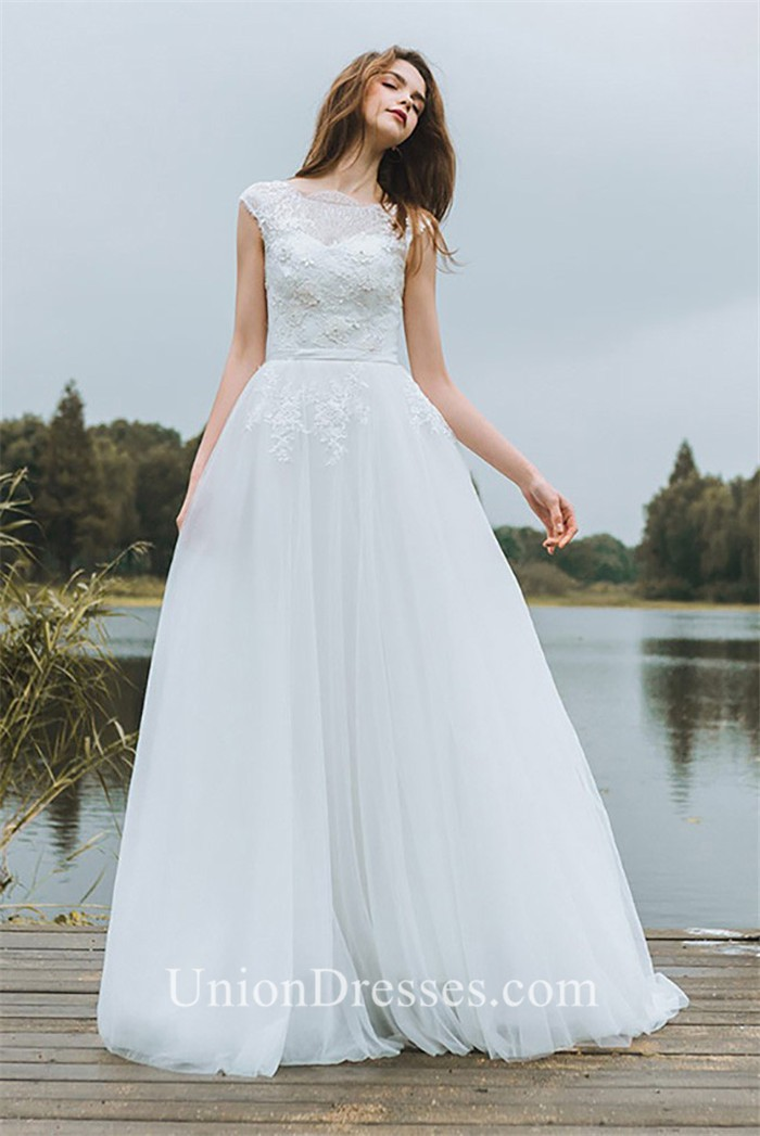 A Line High Neck V Back Cap Sleeve Tulle Lace Wedding Dress