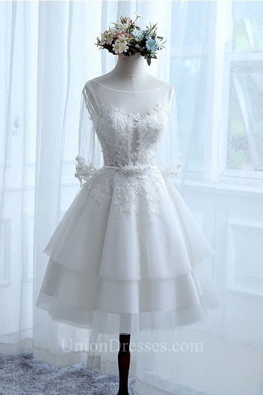 A Line Illusion Neckline 3 4 Sleeve Lace Tulle Tiered Short Wedding ...