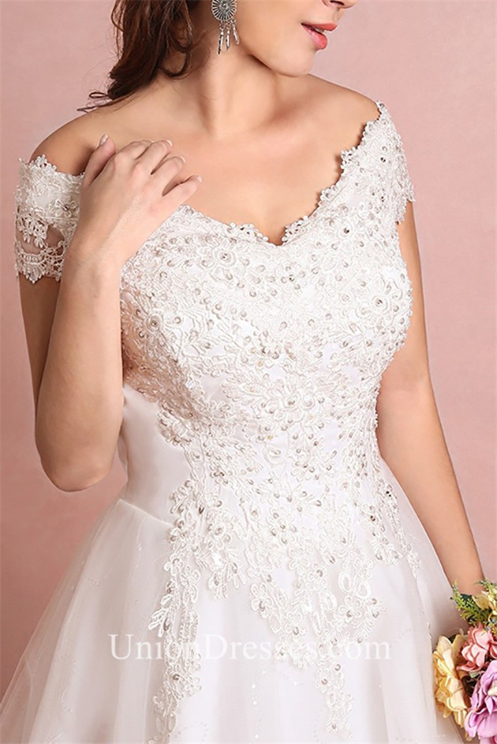 A Line Off The Shoulder Corset Back Tulle Lace Beaded Plus Size ...