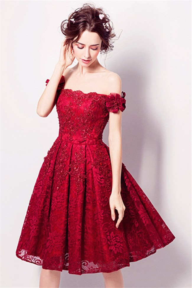 A Line Off The Shoulder Short Red Party Prom Dress With ...