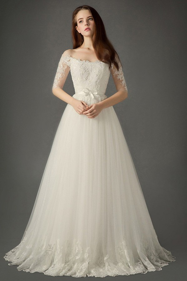 A line off the shoulder tulle lace sleeve wedding dress for Wedding dresses without sleeves