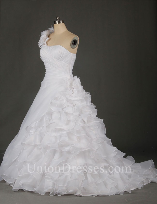 A Line One Shoulder Organza Ruffle Flower Plus Size Wedding Dress