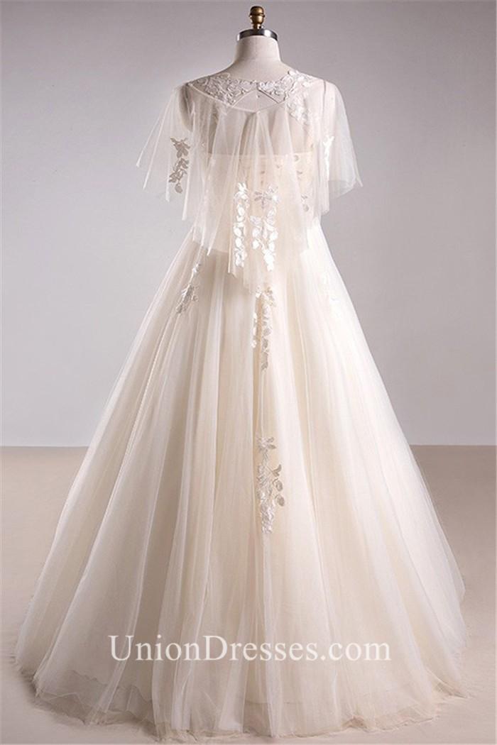 A Line Scoop Neck Lace Tulle Sleeve Bohemian Plus Size Wedding Dress