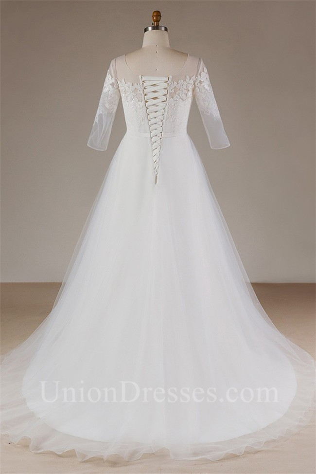 A Line Scoop Neck Long Sleeve Tulle Lace Plus Size Wedding Dress ...