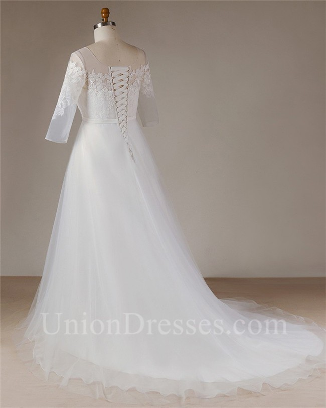 A Line Scoop Neck Long Sleeve Tulle Lace Plus Size Wedding Dress