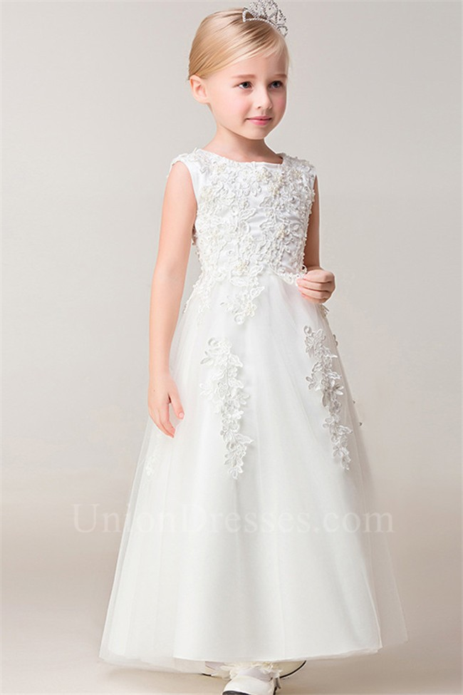 f10aa781ea A Line Scoop Neck Tulle Lace Beaded Flower Girl Dress lightbox moreview ·  lightbox moreview · lightbox moreview