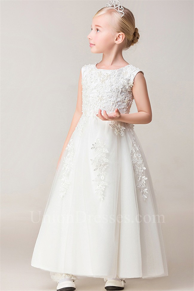 92a2ee7306 A Line Scoop Neck Tulle Lace Beaded Flower Girl Dress lightbox moreview ·  lightbox moreview · lightbox moreview · lightbox moreview