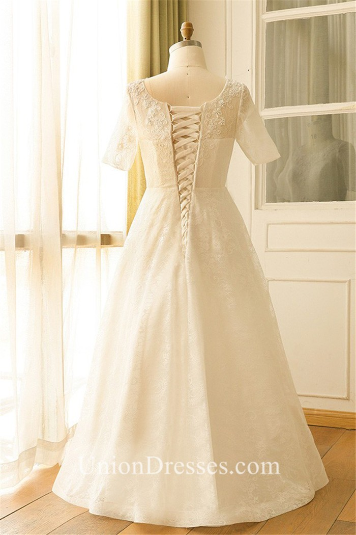A line short sleeve corset back lace plus size wedding for No back wedding dress