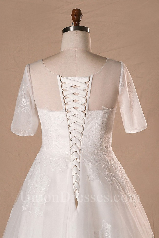A Line Short Sleeve Floor Length Corset Back Lace Wedding Dress ...