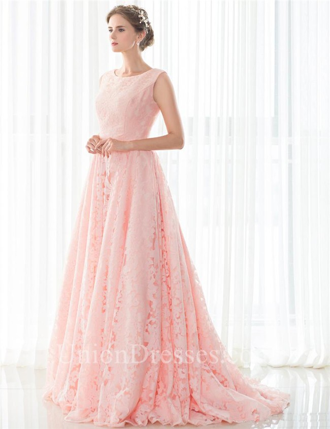 A Line Sleeveless Corset Back Long Pearl Pink Lace Prom Dress With ...