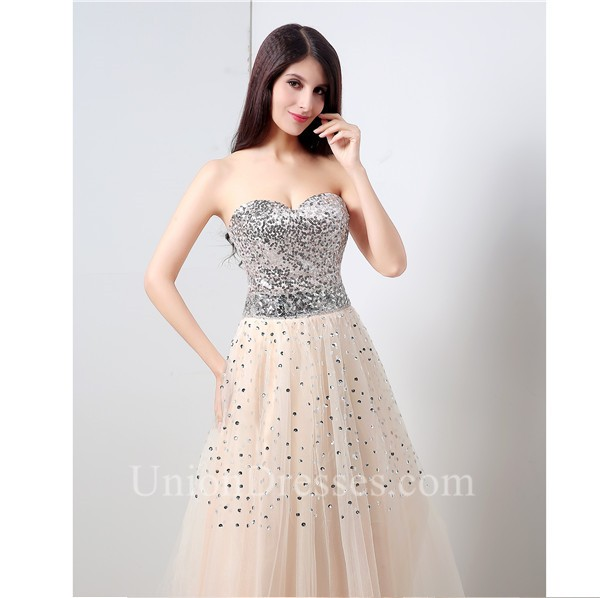 A Line Strapless Long Peach Tulle Silver Sequined Prom Dress Lace ...