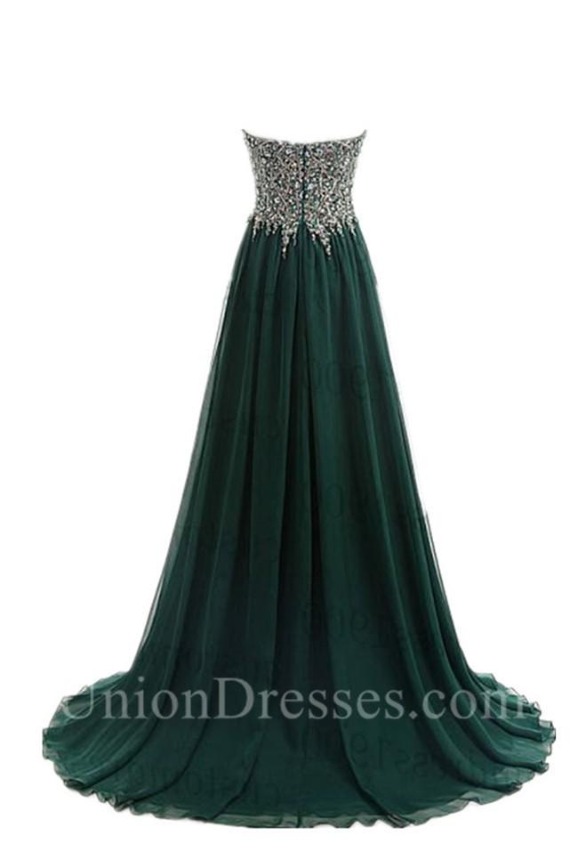green chiffon aline prom dresses