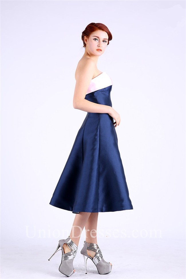 A Line Strapless Tea Length Navy And Pink Taffeta Party Prom Dress