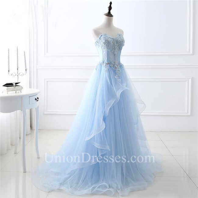 A Line Sweetheart Corset Light Blue Tulle Ruffle Applique Beaded ...