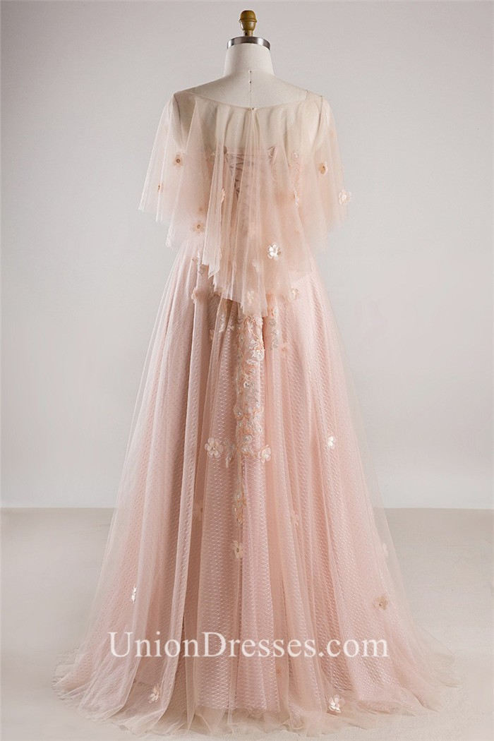 A Line Tulle Sleeve Blush Pink Lace Flower Bohemian Plus Size