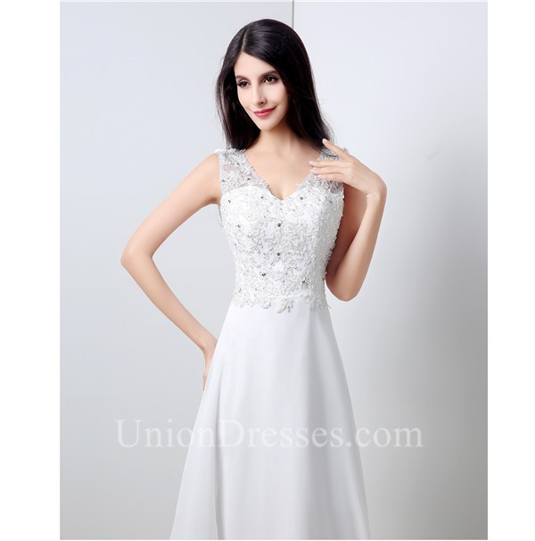 lightbox moreview · A Line V Neck Cowl Back Chiffon Lace Applique Wedding  Dress With Buttons 5b47515f3