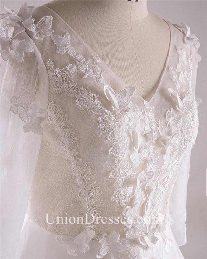 edd15a6af727e A Line V Neck Long Sleeve Corset Back Tulle Lace Plus Size Wedding Dress No  Train lightbox moreview · lightbox moreview · lightbox moreview · lightbox  ...