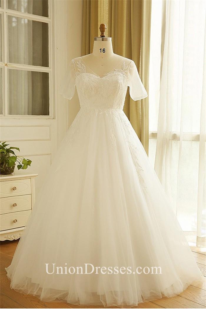 A Line V Neck Short Sleeve Corset Tulle Lace Plus Size Wedding Dress ...