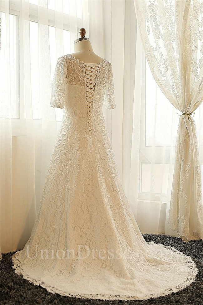 A Line V Neck Vintage Lace Sleeve Plus Size Wedding Dress Corset Back