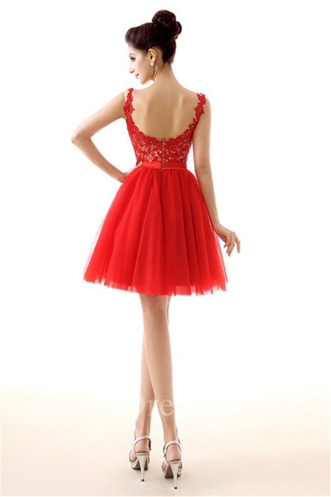 Ball Bateau Neckline Open Back Short Red Tulle Lace Prom Dress With Sash