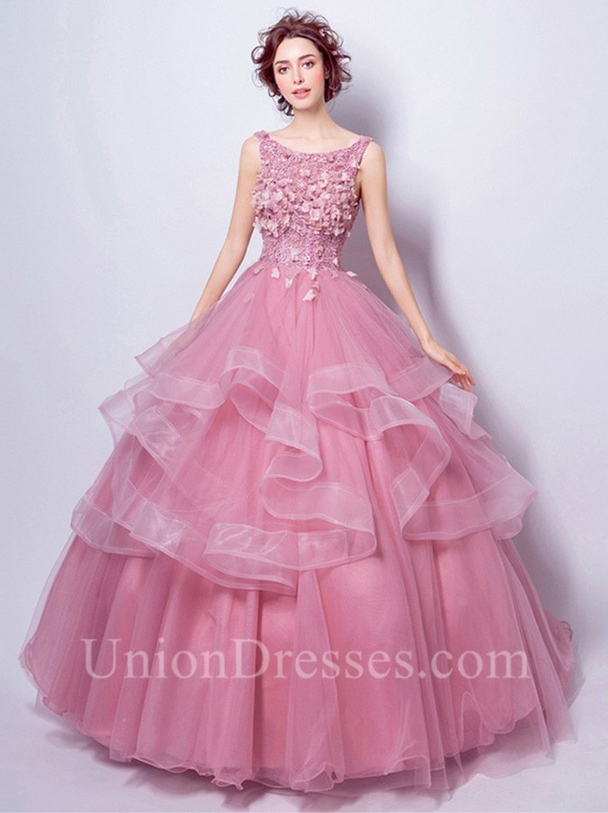 Ball Gown Boat Neck Dusty Rose Tulle Ruffle Flower Wedding Dress