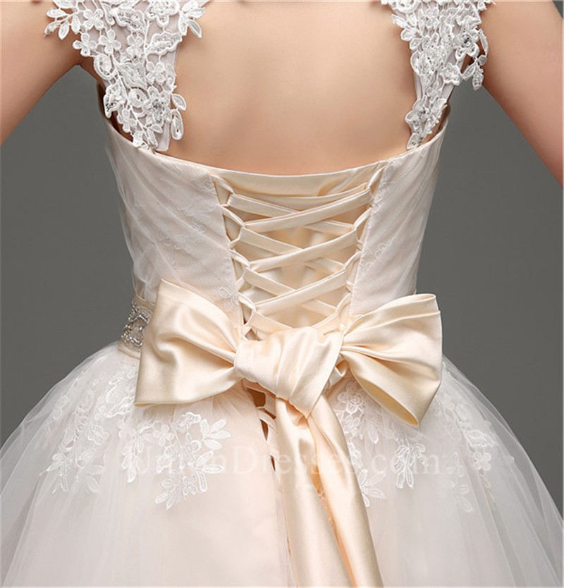 Open Back Champagne Satin Tulle Lace Wedding Dress With Sash Bow Lightbox  Moreview 07965ef7a