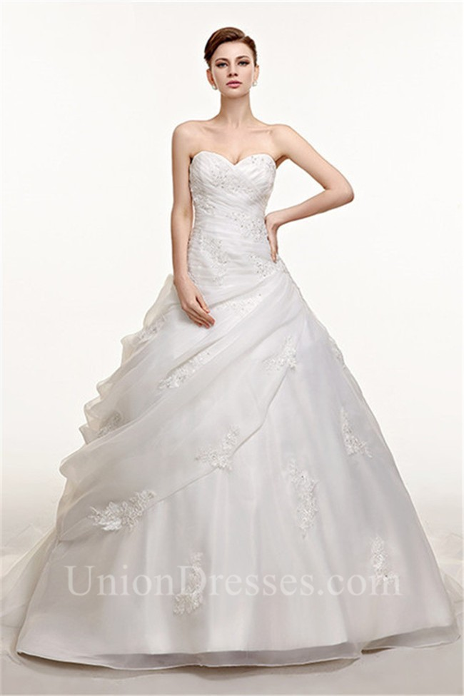 Ball Gown Chapel Train Organza Lace Beaded Corset Wedding Dress