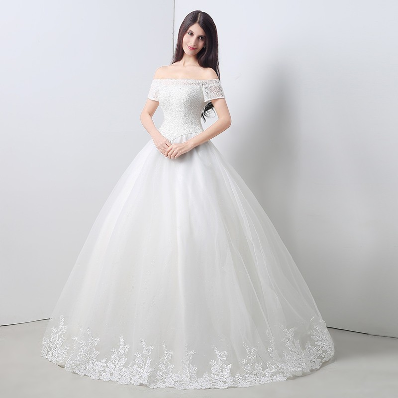 Ball gown off the shoulder drop waist corset back tulle for Lace off the shoulder wedding dresses
