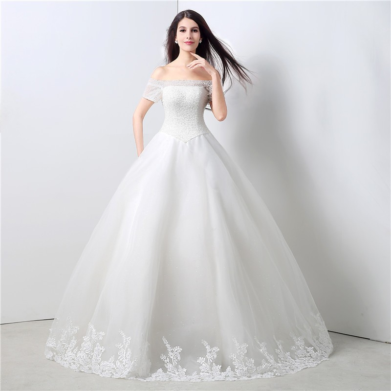 Ball gown off the shoulder drop waist corset back tulle for High low ball gown wedding dress