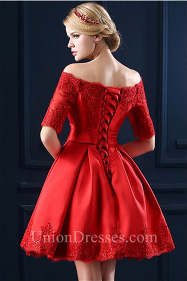Ball Gown Off The Shoulder Short Sleeve Red Satin Lace Corset Prom Dress