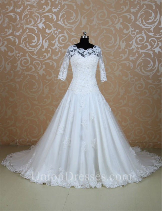 Ball Gown Scalloped Neck Three Quater Sleeves Lace Wedding Dress ...