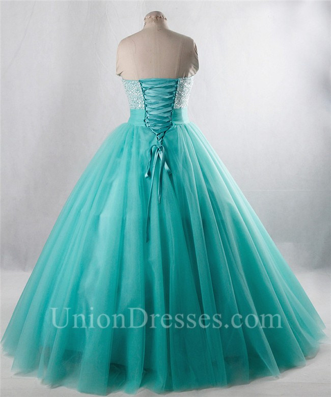 ed5cb9c131e7 Ball Gown Strapless Aqua Tulle Beaded Prom Dress Lace Up Back lightbox  moreview · lightbox moreview