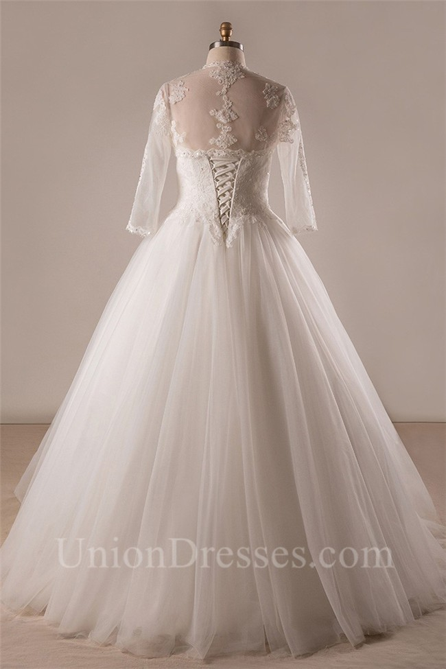 Ball Gown Strapless Lace Tulle Plus Size Wedding Dress With Long ...