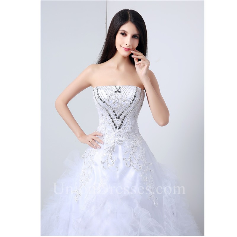 Ball Gown Strapless Tulle Ruffle Crystal Beaded Wedding Dress Corset ...
